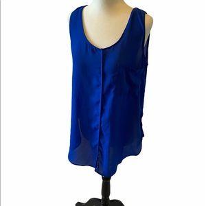 Cobalt Blue Lightweight High Low Tank Top Pocket M